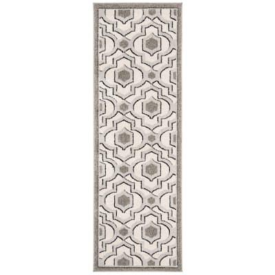 Amherst Ivory/Gray 2 ft. x 7 ft. Geometric Trellis Runner Rug