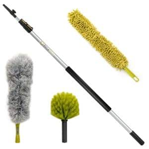 High Reach Dusting Kit with 5 ft. to 12 ft Extension Pole, Cobweb Duster, Microfiber Feather Duster & Ceiling Fan Duster