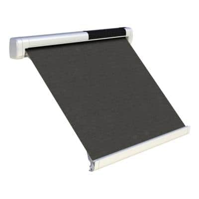 8 ft. Solar Powered Home Window Retractable Smart Awning, Signal White Case, Slate Fabric