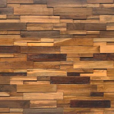 Reclaimed Wood 1/2 in. x 24 in. x 12 in. Multi Teak Wood Wall Panel (10-Panels/Box)