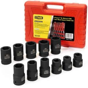 1 in. Drive Duo Combination SAE and Metric Deep Impact Socket Set with Carrying Case (11-Piece)