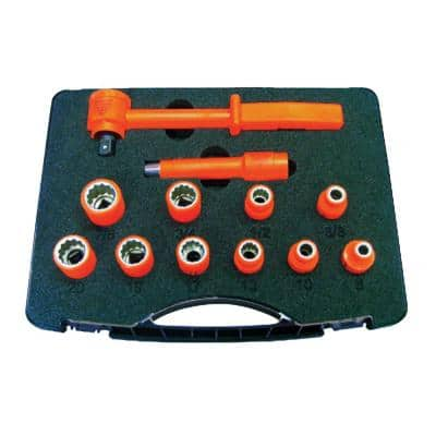 1000-Volt Insulated 3/8 in. Drive Combination Socket Set (12-Piece)