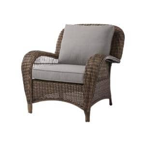 Beacon Park Brown Wicker Outdoor Patio Stationary Lounge Chair with CushionGuard Stone Gray Cushions