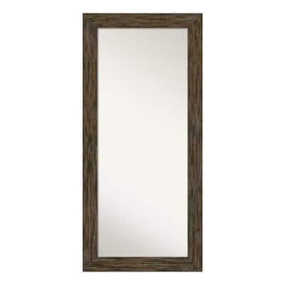 Oversized Distressed Brown Wood Beveled Glass Mirror (67.12 in. H X 31.12 in. W)