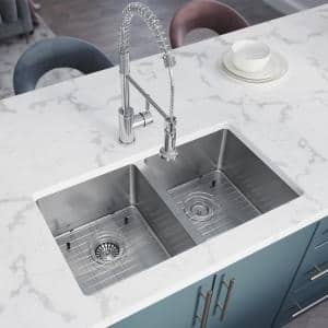 Stainless Steel 31 in. Double Bowl Undermount Kitchen Sink with White SinkLink and additional accessories