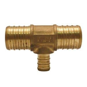 1 in. x 1 in. x 1/2 in. Brass PEX Barb Reducing Tee