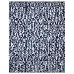 Jasmin Collection Cubes Design Navy and Ivory 7 ft. 8 in. x 9 ft. 8 in. Area Rug