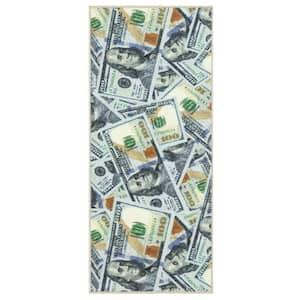 Siesta Kitchen Collection 100 Dollar Bill Design Multi 2 ft. x 5 ft. Runner Rug