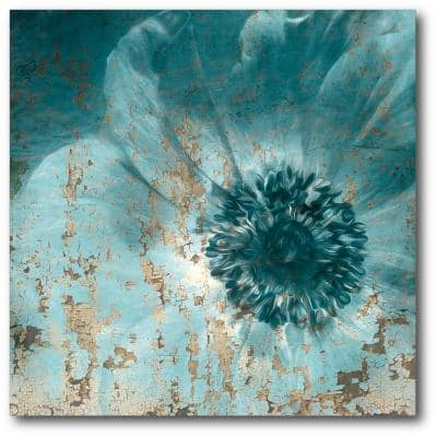 16in. X 16in. Teal Flower Wrapped Canvas Canvas Wall Art