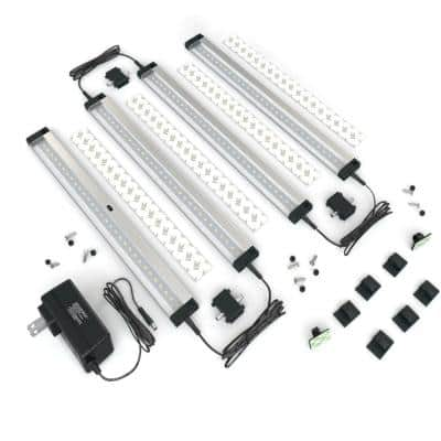 12 in. LED 6000K Black Under Cabinet Lighting, Dimmable Hand Wave Activated (4-Pack)
