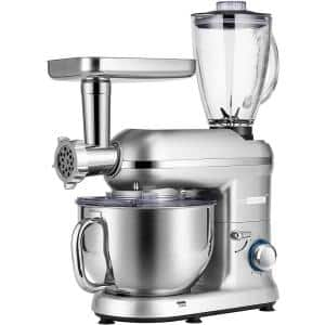 6 qt. 6- speed Silver 3 in 1 Multifunctional Stand Mixer with Meat Grinder and Juice Blender, ETL Listed