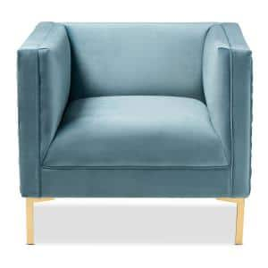 Seraphin Light Blue and Gold Fabric Armchair