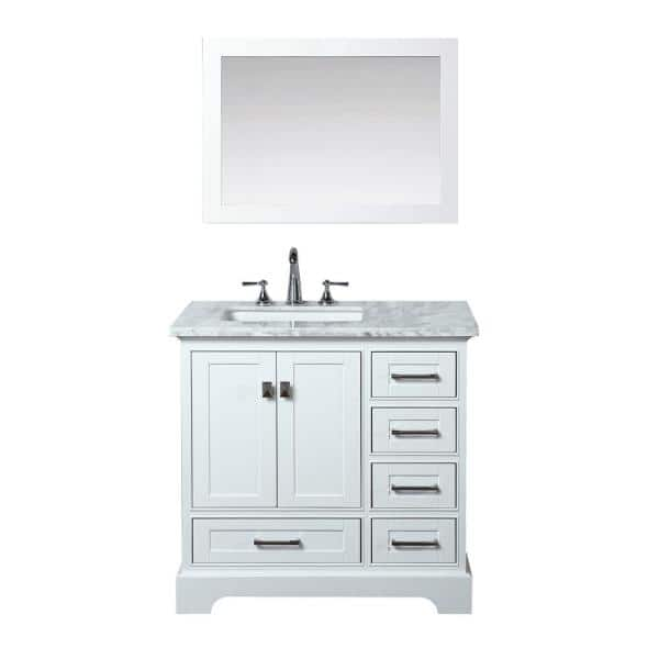 Stufurhome Newport 36 In W X 22 In D Vanity In White With Marble Vanity Top In Carrara White And Mirror Hd 7130w 36 Cr The Home Depot