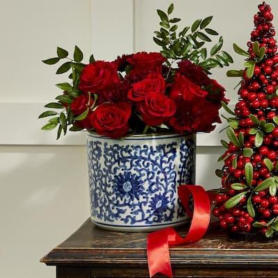 8 in. Diameter Blue and White Lotus Flower Hand Painted Porcelain Vase/Planter
