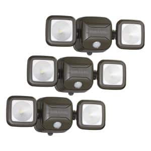 Outdoor 500 Lumen Battery Powered Motion Activated Integrated LED Twin Head Security Light, Brown (3-Pack)