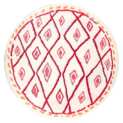 Bohemian Diamond Maureen Shaggy Pink 6 ft. x 6 ft. Round Area Rug