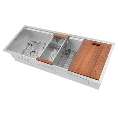 """ZLINE 43"""" Garmisch Undermount Single Bowl Stainless Steel Kitchen Sink with Bottom Grid and Accessories (SLS-43)"""