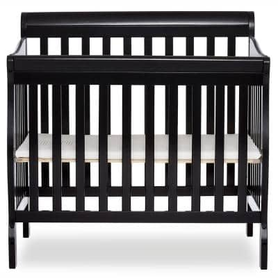 Aden Black 4-in-1 Convertible Mini Crib