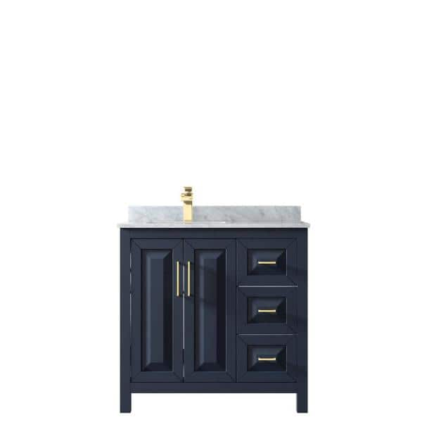 Wyndham Collection Daria 36 In Single Bathroom Vanity In Dark Blue With Marble Vanity Top In White Carrara With White Basin Wcv252536sblcmunsmxx The Home Depot