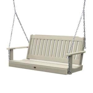 Lehigh 60 in. 2-Person Whitewash Recycled Plastic Porch Swing