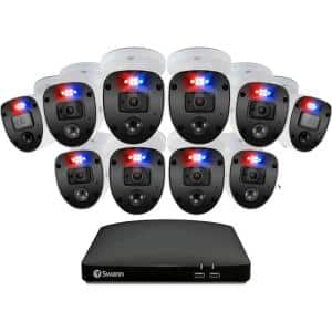 16-Channel 1080p 2TB DVR Security Camera System with 10 Wired Enforcer Bullet Cameras and Yard Stake