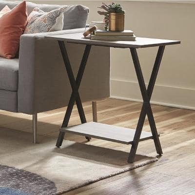 Cornerstone Gray 31 in. W Concrete-Coated End Table