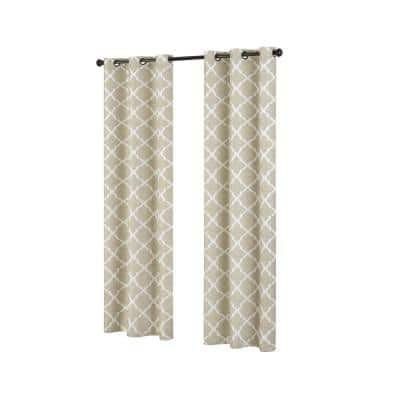 Fret 42 in. W x 84 in. L Blackout Window Curtain in Natural