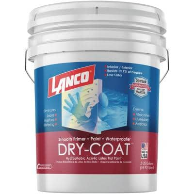 5 Gal. Dry-Coat White Pastel Flat Acrylic-Latex Interior and Exterior Smooth Masonry Waterproofing Paint