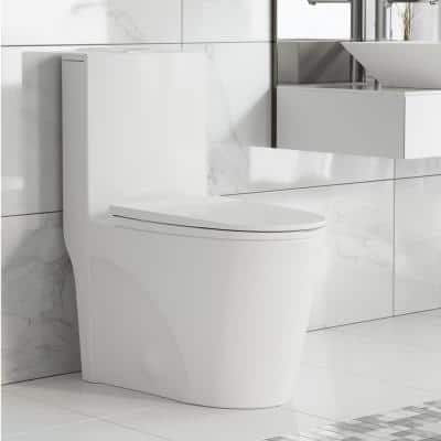 St. Tropez 1-Piece 0.8/1.28 GPF Dual Flush Elongated Toilet in White
