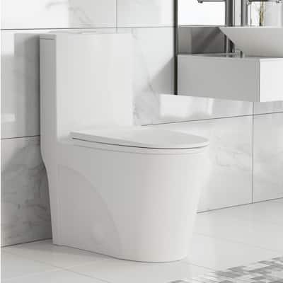 St. Tropez 1-Piece 0.8/1.28 GPF Dual Flush Elongated Toilet in White