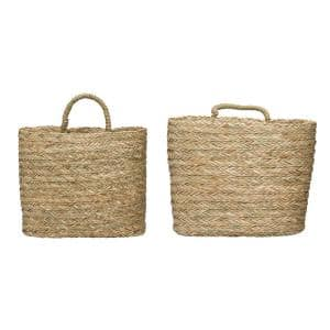 Seagrass Handwoven Decorative Wall Baskets (Set of 2)