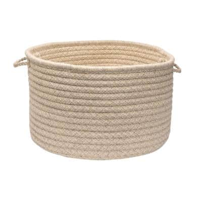 Natural Wool 24 in. x 24 in. x 14 in. Dogstooth Basket in Cream