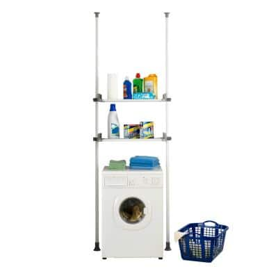 Herkules Twin 16.54 in. D x 28.74-47.24 in. W x 64.96-118.11 in. H White Powder-Coated Steel Tension Mount Closet System