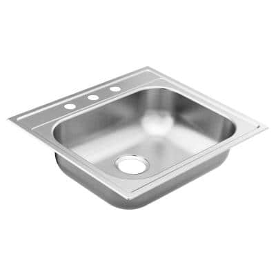 2200 Series Stainless Steel 25 in. 3-Hole Single Bowl Drop-In Kitchen Sink with 6.5 in. Depth