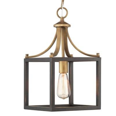 Boswell Quarter 1-Light Vintage Brass Mini-Pendant with Painted Black Distressed Wood Accents