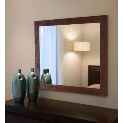 Oversized Rectangle Dark Walnut Modern Mirror (64 in. H x 26 in. W)
