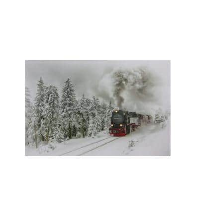 12 in. x 15.75 in. Small Fiber Optic and LED Lighted Winter Woods with Train Canvas Wall Art