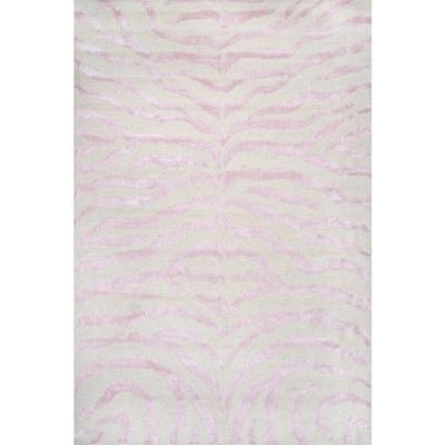 Zebra Stripes Pink 9 ft. x 12 ft. Indoor Area Rug