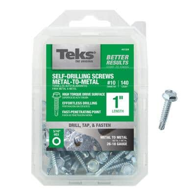 #10 x 1 in. External Hex Zinc Plated Washer Head Self Tapping Drill Point Screws (140-Pack)