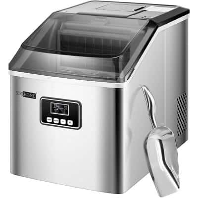 Countertop 48 lbs. Day Portable Ice Maker with Scoop in Silver