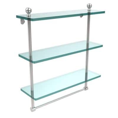 Mambo 16 in. L  x 18 in. H  x 5 in. W 3-Tier Clear Glass Bathroom Shelf with Towel Bar in Polished Chrome
