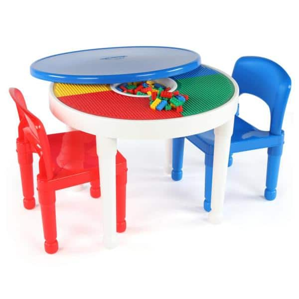 Humble Crew Playtime White 2-in-1 Plastic LEGO-Compatible Kids Activity Table and 2-Chairs Set   The Home Depot