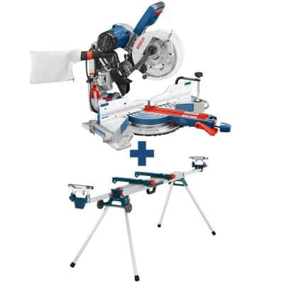 15 Amp Corded 10 in. Dual-Bevel Sliding Glide Miter Saw with 60-Tooth Saw Blade with Bonus 32-1/2 in. Folding Leg Stand