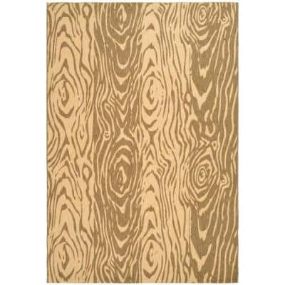 Layered Faux Bois Coffee/Sand 5 ft. x 8 ft. Striped Indoor/Outdoor Area Rug