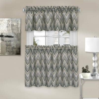 Avery Charcoal Polyester Light Filtering Rod Pocket Tier and Valance Curtain Set 58 in. W x 36 in. L