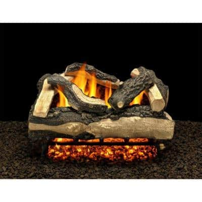 Salisbury Split 30 in. Vented Natural Gas Fireplace Logs, Complete Set with Pilot Kit and On/Off Variable Height Remote