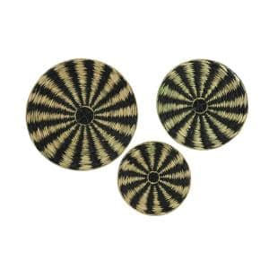 Round Water Hyacinth and Metal Decorative Trays (Set of 3)