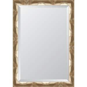 Medium Rectangle Gold Beveled Glass Contemporary Mirror (30 in. H x 42 in. W)