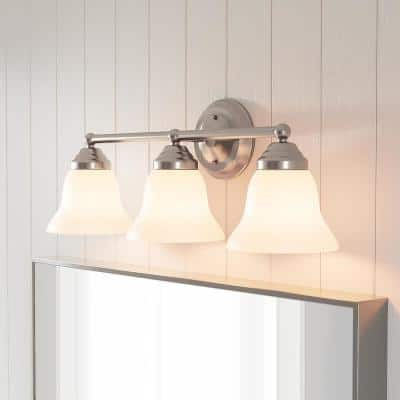 Ashhurst 3-Light Brushed Nickel Vanity Light with Frosted Glass Shades
