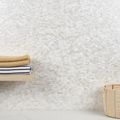 Luxe Core Brick White 11.31 in. x 11.81 in. Mother of Pearl Peel and Stick Tile (0.92 Sq. Ft. / Sheet)